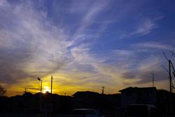 夕日と青空と白い雲