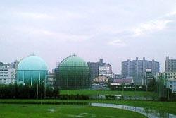 CAD講座会場から見える仙台市ガス局のタンク